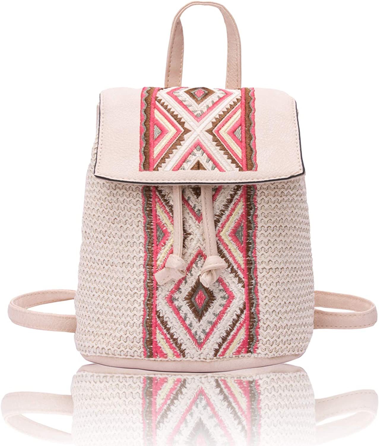 QUEENSHOW Fashion Braided Ranking TOP16 PU Leather Handbags Backpack Beige Directly managed store Sch