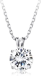 """Sets with Swarovski Zirconia Sterling Silver Solitaire Pendant Necklace for Women Round-Cut CZ Necklace Chain Jewelry Gift (2 cttw), 18"""""""