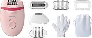 Philips Satinelle Essential Epilator, Corded Hair Removal with 5 Accessories, Including Trimming and Shaver Heads, BRE285/00