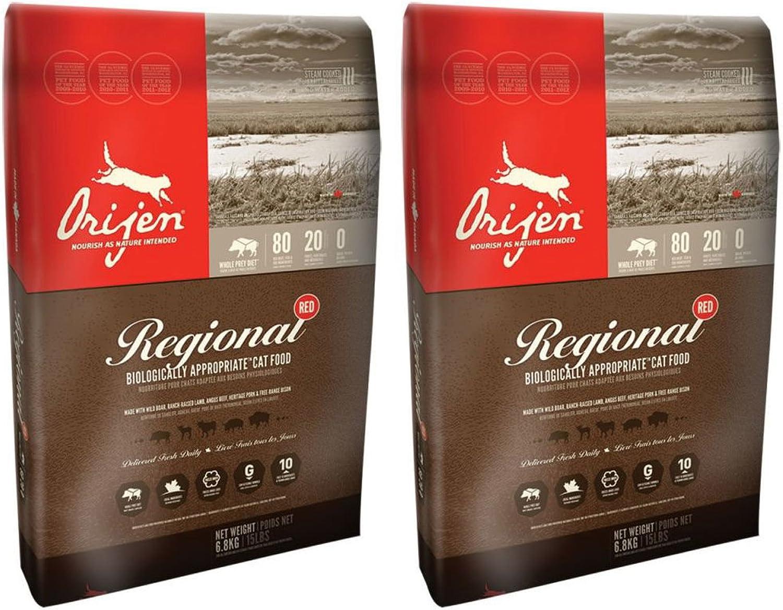 2 x 5.4kg Orijen Regional Red Dry Cat and Kitten Food Multibuy