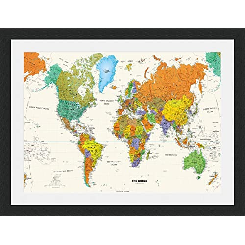 Mounted World Map.Mounted Pictures Of The World Map Amazon Co Uk