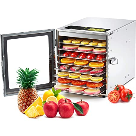 Colzer Food Dehydrator Machine(67 Free Recipes) 8 Stainless Steel Trays Adjustable Thermostat Digital Food Dehydrator for Beef, Jerky, Fruit, Dog Treats, Herbs