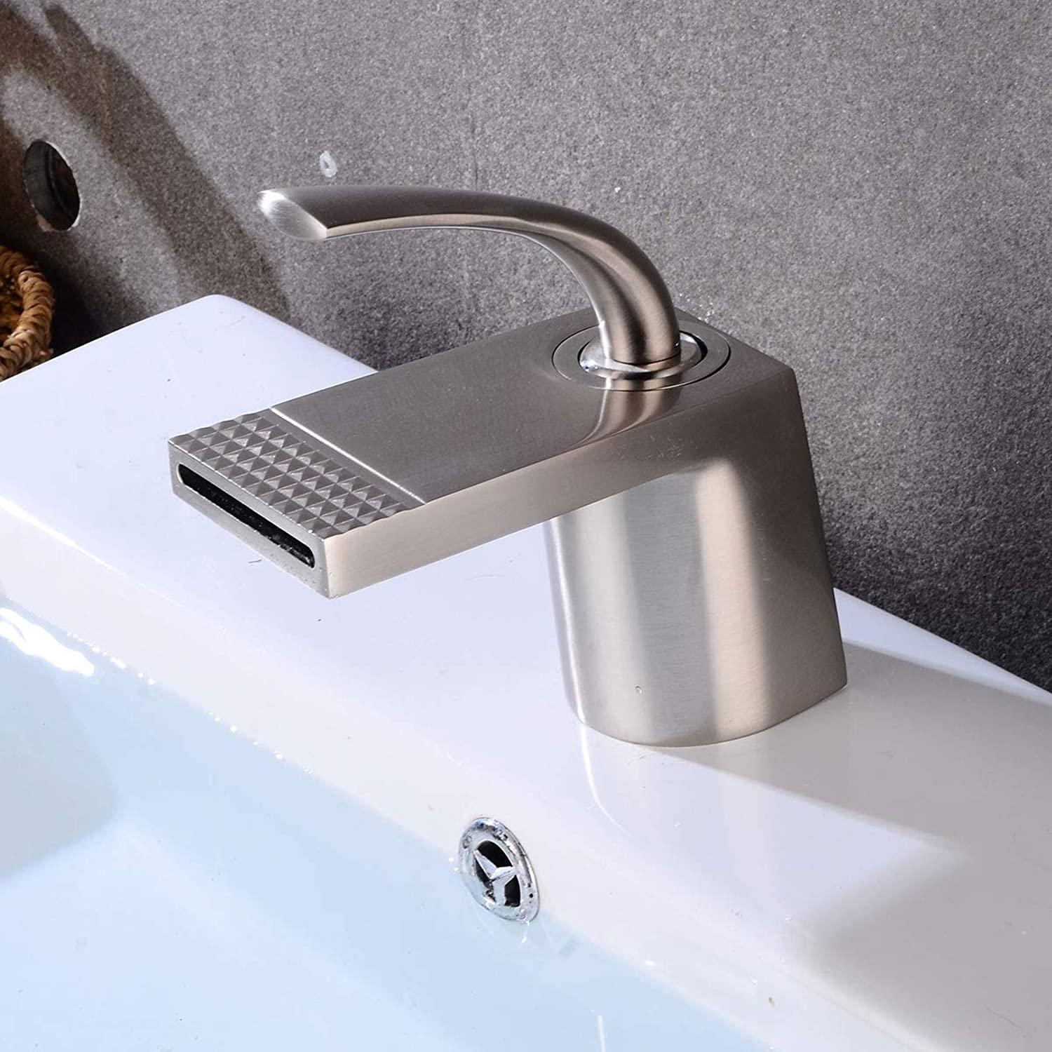 Bathroom Low Spout Waterfall Basin Sink Mixer Tap, Modern Single Lever Tall Bath Brass Faucet, Lavatory Single Handle Flat Mouth Traditional Hot Cold Monobloc Countertop Tap
