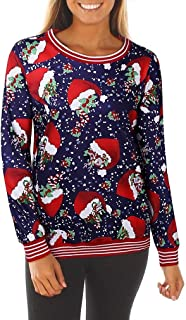 neveraway Womens Christmas Round Neck Casual Loose Print Sweatshirt Tunic Blouse