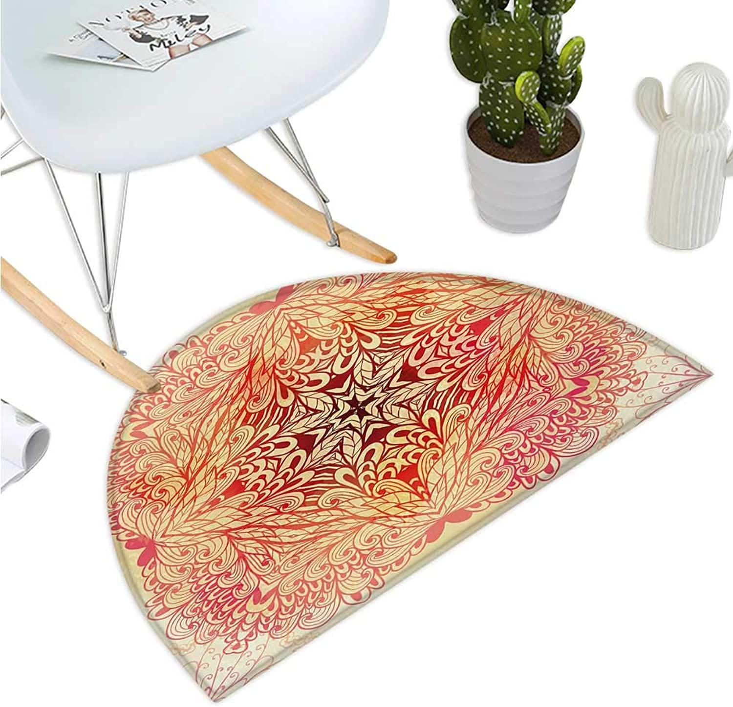 Red Mandala Semicircular Cushion Hand Drawn Doodle Style Flowers Swirls Ivy in Square Shape Image Bathroom Mat H 35.4  xD 53.1  Pink Yellow and White