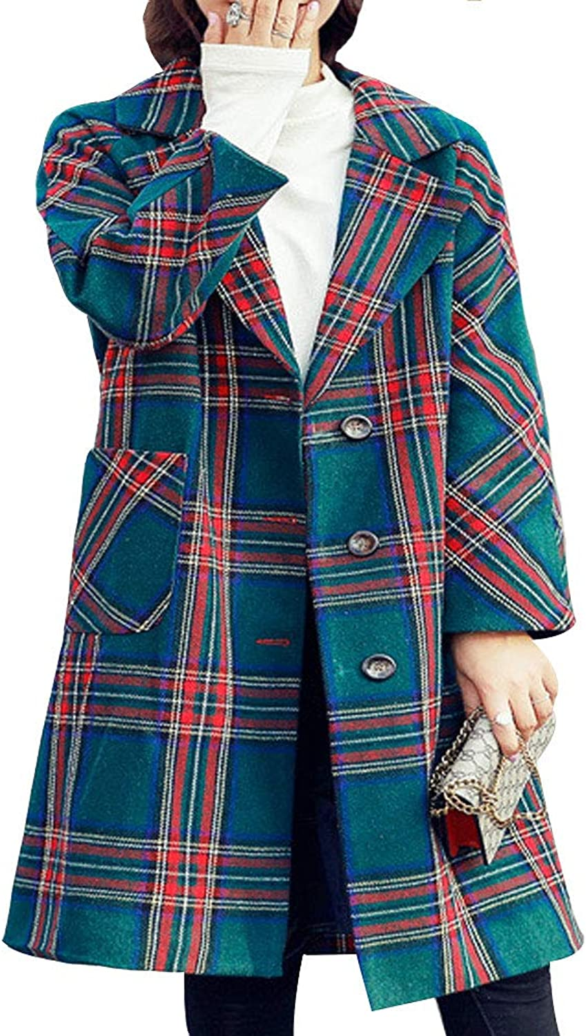 EVEDESIGN Women's Fashion Plaid Woolen Pea Coat Double Breasted Check Long Loose Overcoat