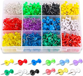 Yalis Push Pins Color Thumb Tacks 600-Count Standard Pins Steel Point and Colored Plastic Head, 12 Assorted Colors