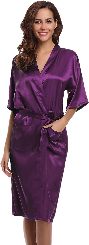Aibrou Women's Kimono Robe Dressing Gown Long Classic Satin Wedding Nightwear