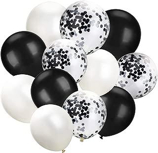 Hestya White Black Confetti Balloons 100 Pack 12 Inch Party Balloons White Black Latex Balloons for Weddings, Birthday Party, Bridal Shower, Party Decoration (White Black, 12 Inch)