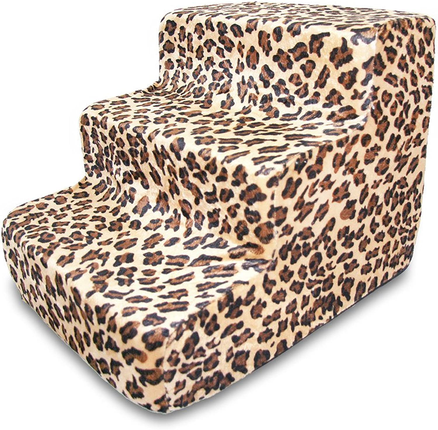 Best Pet Supplies 3Step Foam Pet Stairs Steps, 18 by 15 by 13Inch, Animal Print