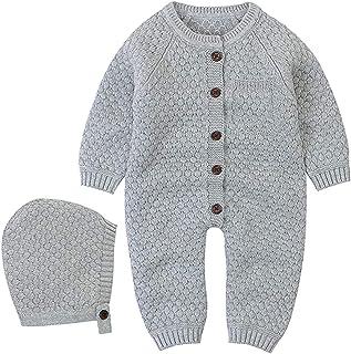 Taotigzu Strampler für Neugeborene mit Kapuze, gestrickt, Winterkleidung, langärmlig, Pyjama von 0 Monaten bis 24 Monate