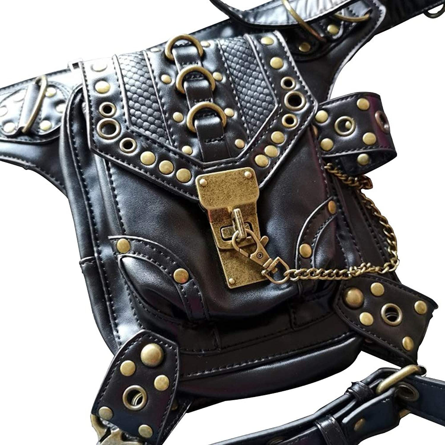 SmartHS Women PU Leather Motorcycle Bag Steampunk Shoulder Waist Bag Thigh Holster Bag