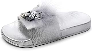 Women Slippers House Summer Shoes with Soft and Thick (Color : Silver, Size : 40)