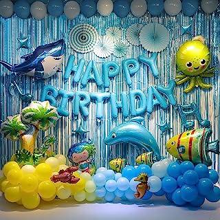 Ocean Theme Party Decoration Set - Shark Birthday Party Backdrop Decorations, Marine Animals Themed Balloon Birthday Party...