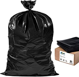 "Plasticplace Contractor Trash 42 Gallon ¦ 3.0 Mil ¦ Black Heavy Duty Garbage Bag ¦ 33"" x 48"" (50 Count)"
