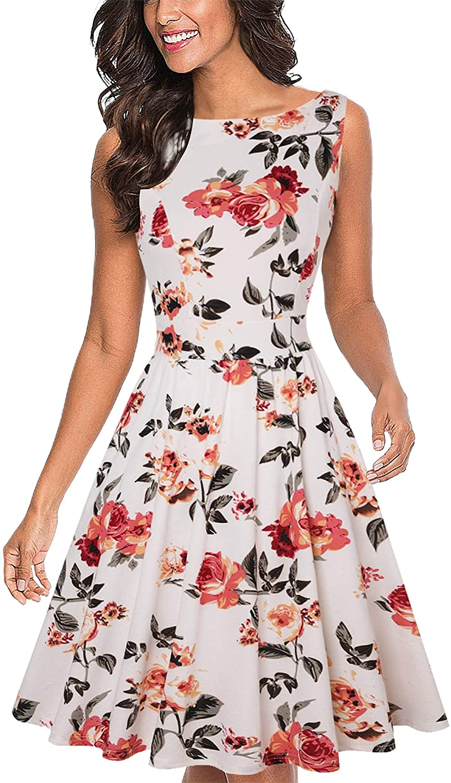 MISSJOY Women's Vintage Direct New arrival stock discount Dresses 1950s Sleeveles Tea Floral Dress