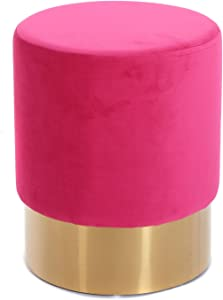 Design HOCKER Velluto   Ø 35 cm, pink, Samtbezug   Sitzhocker