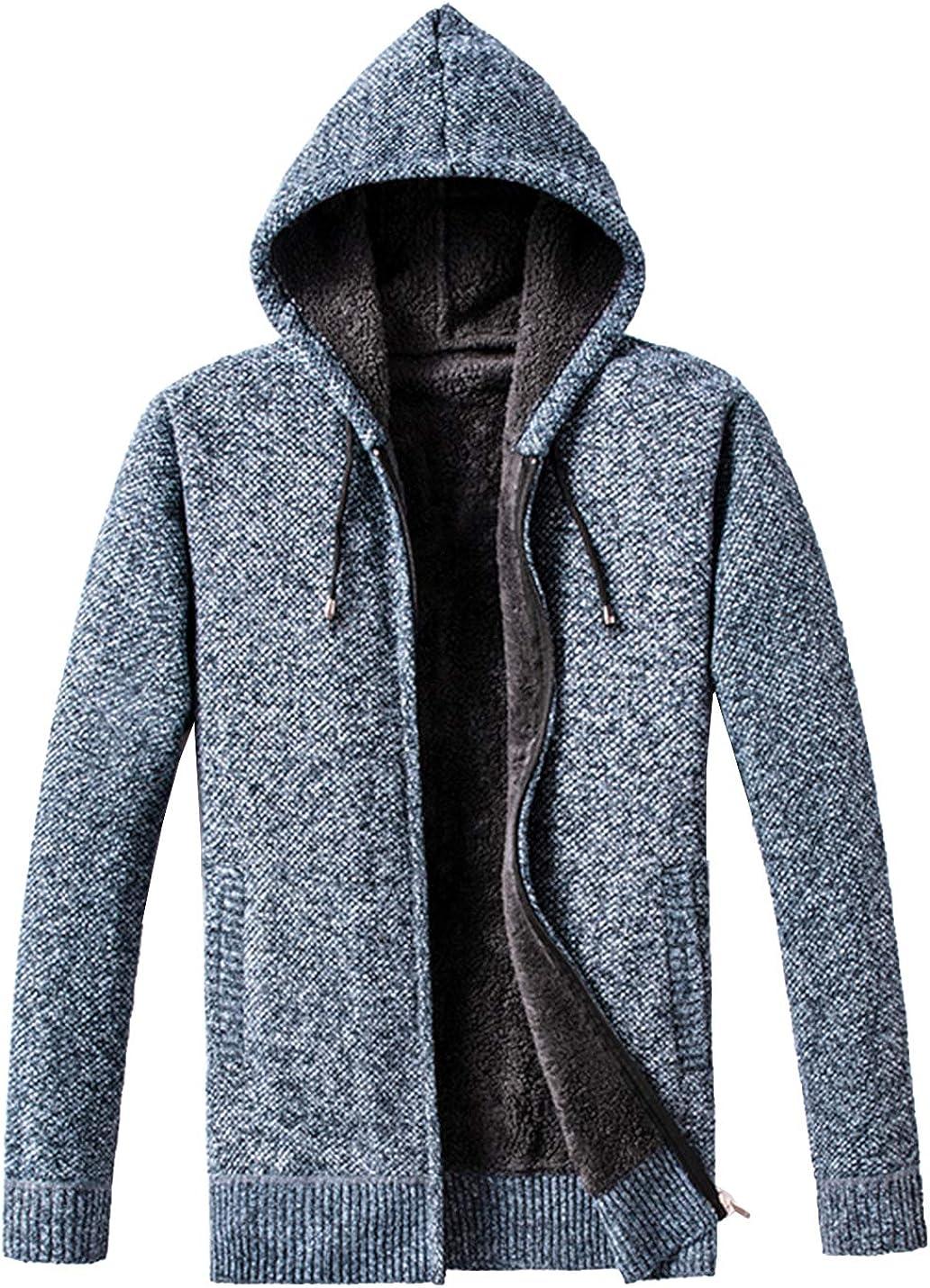 PEHMEA Men's Classic Zip Up Sherpa Fleece Lined Slim Fit Hooded Knitted Cardigans Sweaters Jackets