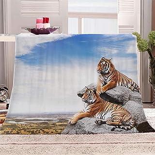 Couverture de canap/é Couverture de couchage pour adultes et enfants 100 x 150 cm Blanc Flowerhome Couvre-lit motif animaux tigre