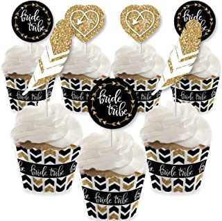 Bride Tribe - Cupcake Decoration - Bridal Shower or Bachelorette Party Cupcake Wrappers and Treat Picks Kit - Set of 24