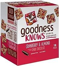 goodnessKNOWS Cranberry, Almond & Dark Chocolate Gluten Free Snack Square Bars 18-Count Box