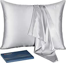 J JIMOO Natural Silk Pillowcase,for Hair and Skin with Hidden Zipper,22 Momme,600 Thread Count 100% Mulberry Silk (Queen 20×30inch, Silver Grey, 1 Piece)