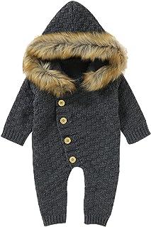 طفل الفتيان الفتيات الشتاء الحفاظ على الدافئة متماسكة هوديي رومبير الرضع سترة بذلة (Color : GY, Size : 90)