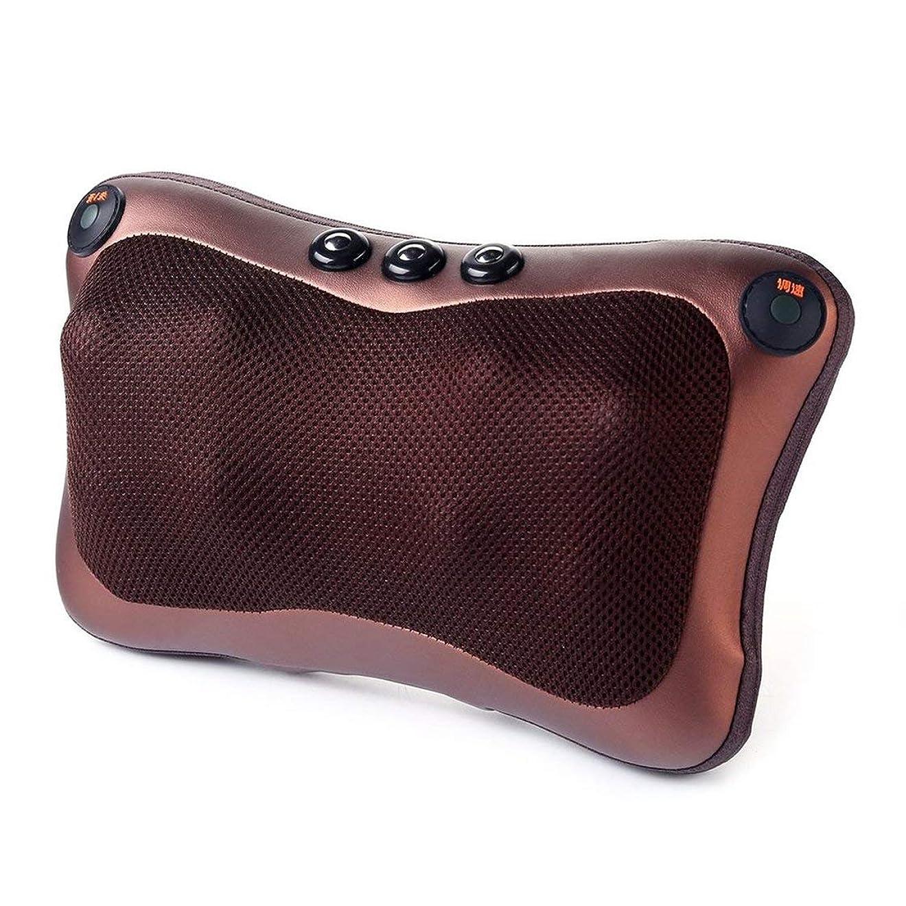 遅い符号傾向があります8ヘッド快適な磁気療法電子ネックマッサージャーショルダーバックウエストマッサージ枕クッション最高の贈り物 (色:黒)(Rustle666)