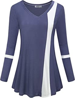 Womens Long Sleeve V Neck Color Block Blouse Casual Flowy Tunic Tops
