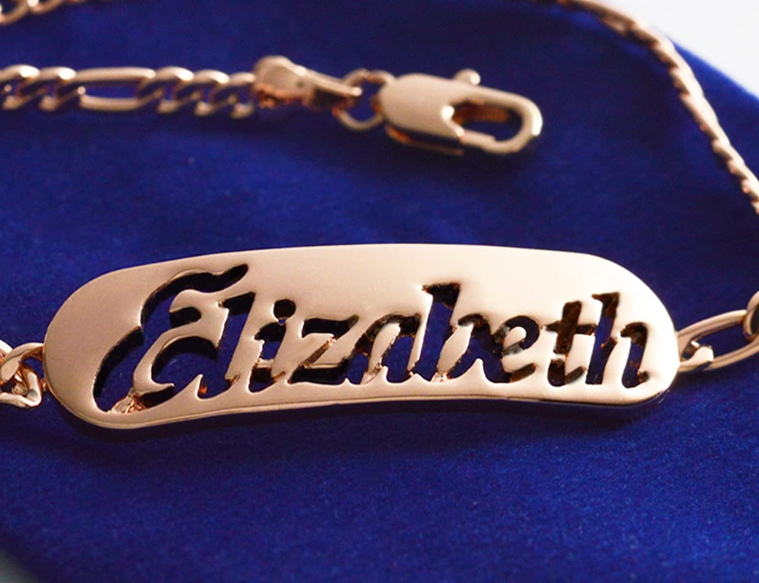 Name Bracelet ELIZABETH  pink gold Plated 18ct Personalised Bracelet. 10  Figaro Chain with Gift Box and Gift Bag. 2mm thick Nameplate.