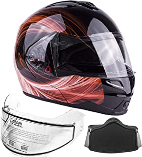 Typhoon Adult Dual Visor Modular Snowmobile DOT Full Face Flip-up Helmet Bluetooth Ready (Orange XXL)