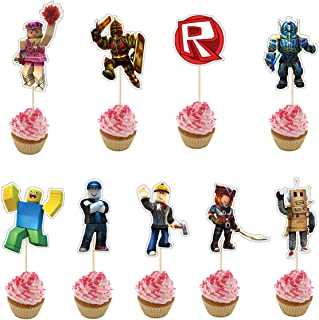 18 Pieces Happy Birthday Cupcake Topper for Roblox Cake Decoration,Party Supplies Toppers