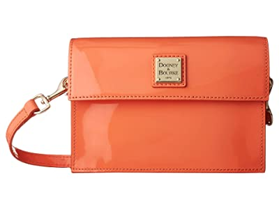 Dooney & Bourke Beacon Patent Small East/West Flap Crossbody (Coral/Coral Trim) Handbags