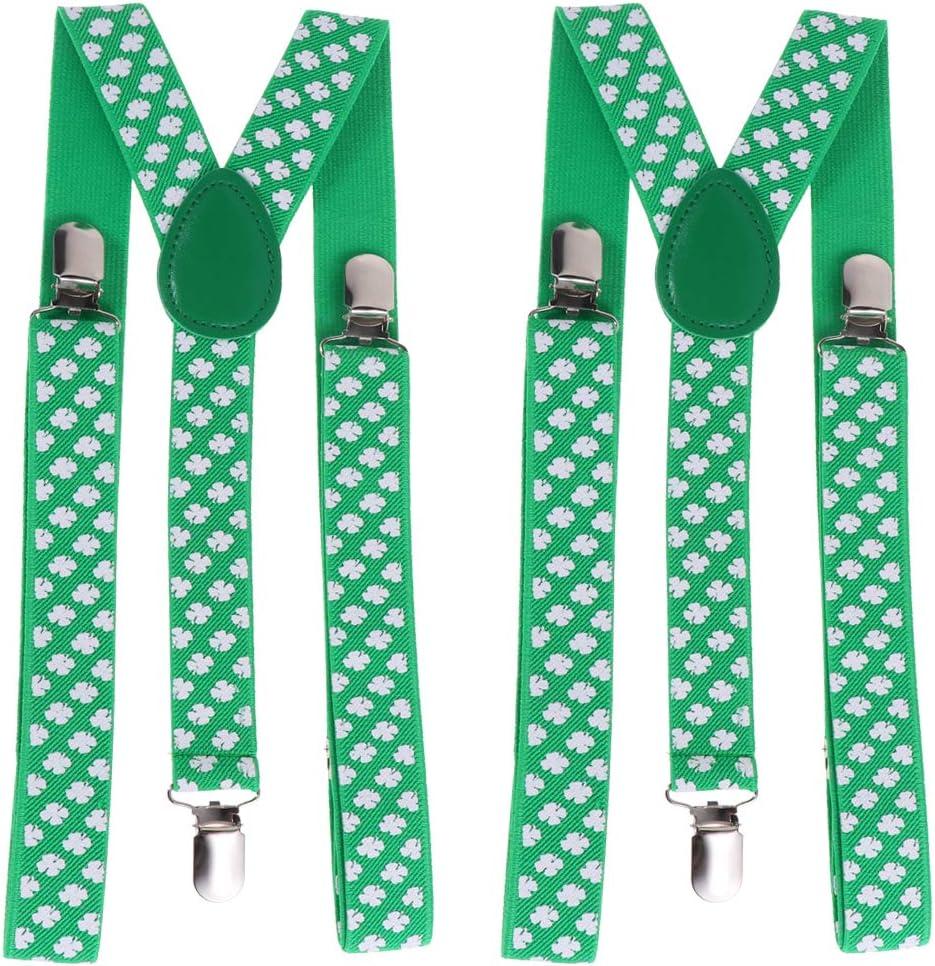 ABOOFAN 2pcs 2.5cm Width Four Leaf Clover Suspenders Practical 3 Clips Elastic Braces for Men Women (Green Leaf) Party Favors