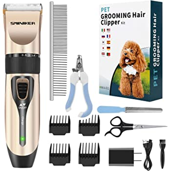 Amazon Com Pet Union Professional Dog Grooming Kit Rechargeable Cordless Pet Grooming Clippers Complete Set Of Dog Grooming Tools Low Noise Suitable For Dogs Cats And Other Pets Gunmetal