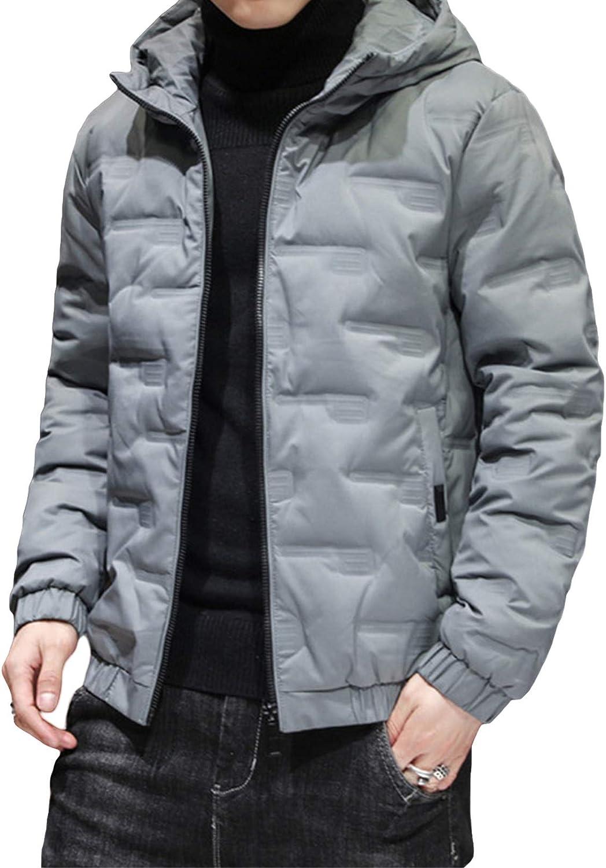 Men's Lightweight Water-Resistant Packable Puffer Jacket Hoodie Coat Cotton Jacket Long Sleeve Outerwear