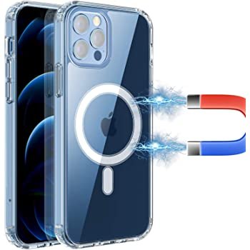 RESTONE Clear Magnetic Case for iPhone 12/12 Pro 6.1 Magsafe Charging, Slim Fit Hard Back Soft Silicone TPU Bumper Cover, Thin Cute Shockproof Anti-Yellow Protective Case for i-Phone 12 Pro 6.1 2020