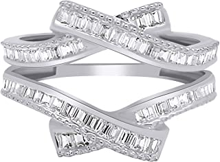 OMEGA JEWELLERY 0.58 Ct Baguette Shape Natural Diamond 14K White Gold Enhancer Wrap Guard Ring Sz-8