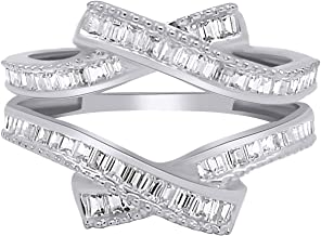 OMEGA JEWELLERY 0.69 Ct Baguette Shape Natural Diamond 14K White Gold Enhancer Wrap Guard Ring