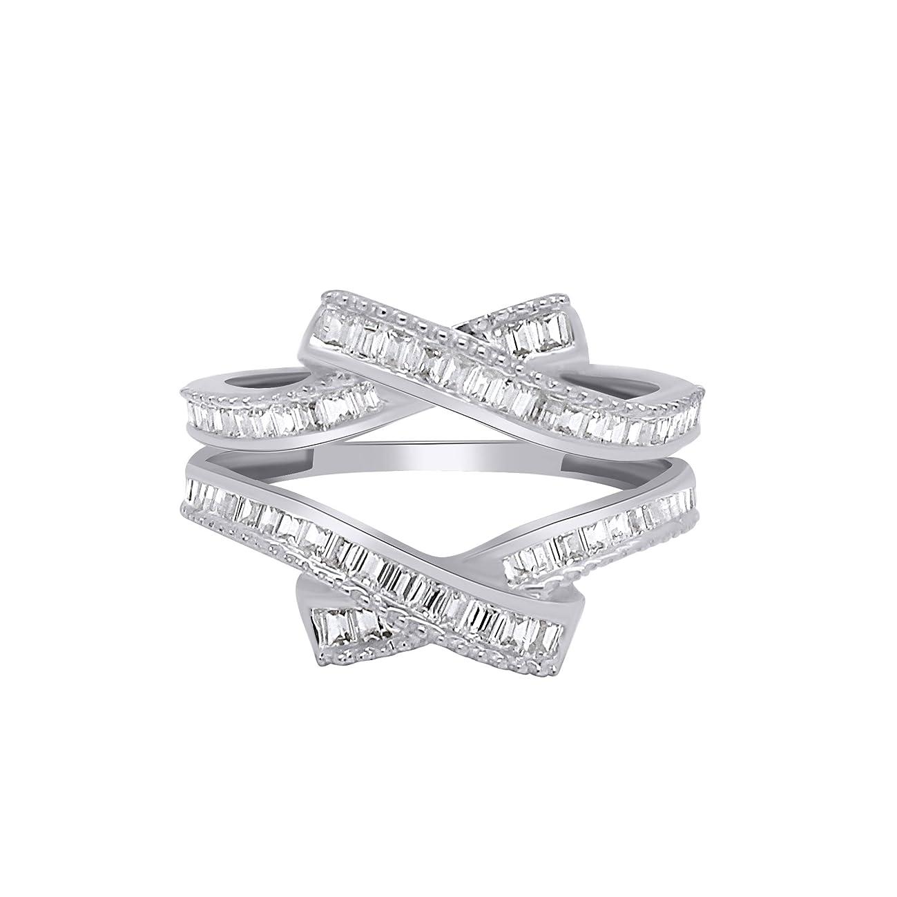 OMEGA JEWELLERY 0.58 Ct Baguette Shape Natural Diamond 14K White Gold Enhancer Wrap Guard Ring Sz-8