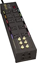 Tripp Lite Isobar 10 Outlet Audio/Video Surge Protector Tel/Modem/Coax/Network 8ft Cord Right Angle Plug, $500,000 Insurance (HT10DBS)