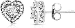NATALIA DRAKE 14k White Gold Plated Diamond Accent Miracle Plate Heart Shape Filigree Border Earring
