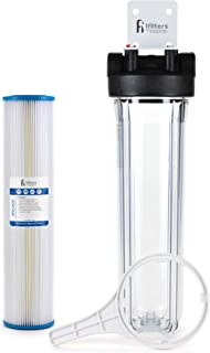Well Water Whole House Sediment & Rust Complete Filtration System, Pleated Washable filter, 20