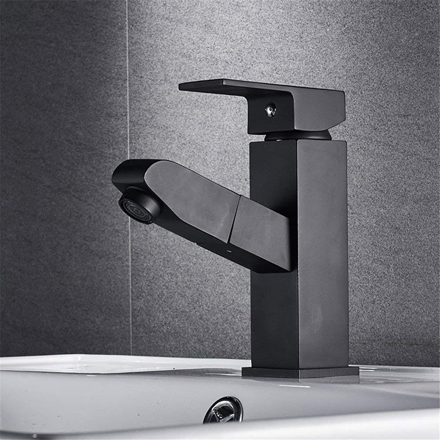 FuweiEncore Shampoo, Basin, Faucet, Pull, Copper, Cold, Hot Water Faucet, Washroom, Bathroom, Telescopic Faucet Cabinet, Single Hole, Right Angle, Black. (color   -, Size   -)