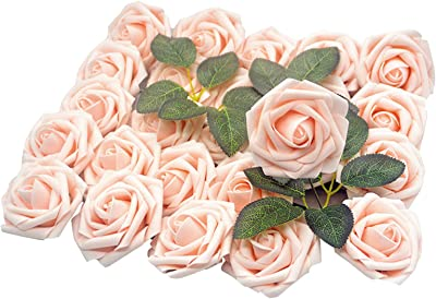 Lmeison Artificial Flower Blush Rose, 50pcs Real Looking Fake Roses W/stem with Leaves for DIY Wedding Bouquets Centerpieces Arrangements Party Baby Shower Cake Decor Home Decorations
