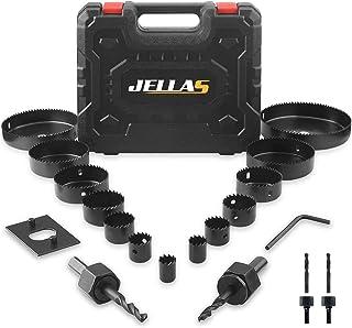 "Hole Saw Set, Jellas 19PCS Hole Saw Kit with 13Pcs Saw Blades, Max Size 6"" and Min Size 3/4"", 2 Mandrels, 1 Installation P..."