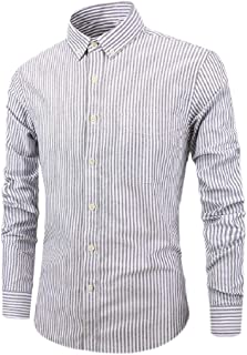 Howely Men's Business Buttoned Slim Fit Stripes Cotton Long-Sleeve T-Shirts