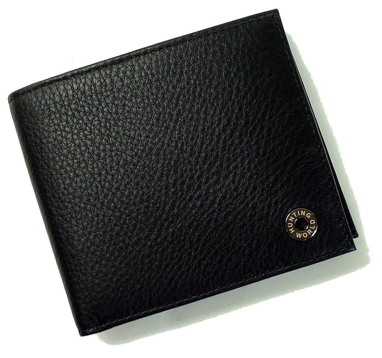 自分のランドリー機密[ハンティングワールド] 財布 メンズ 二つ折 KASHGAR (ブラック) 207-371 HW-503 [並行輸入品]