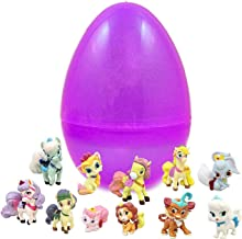 Jumbo Transparent Glitter Easter Egg With Palace Pet Figurines - Toy Filled Eggs To Save You Time - Ready To Hide - Includes Favorite Figurines Like Petite and Dreamy - Perfect For Easter Egg Hunts