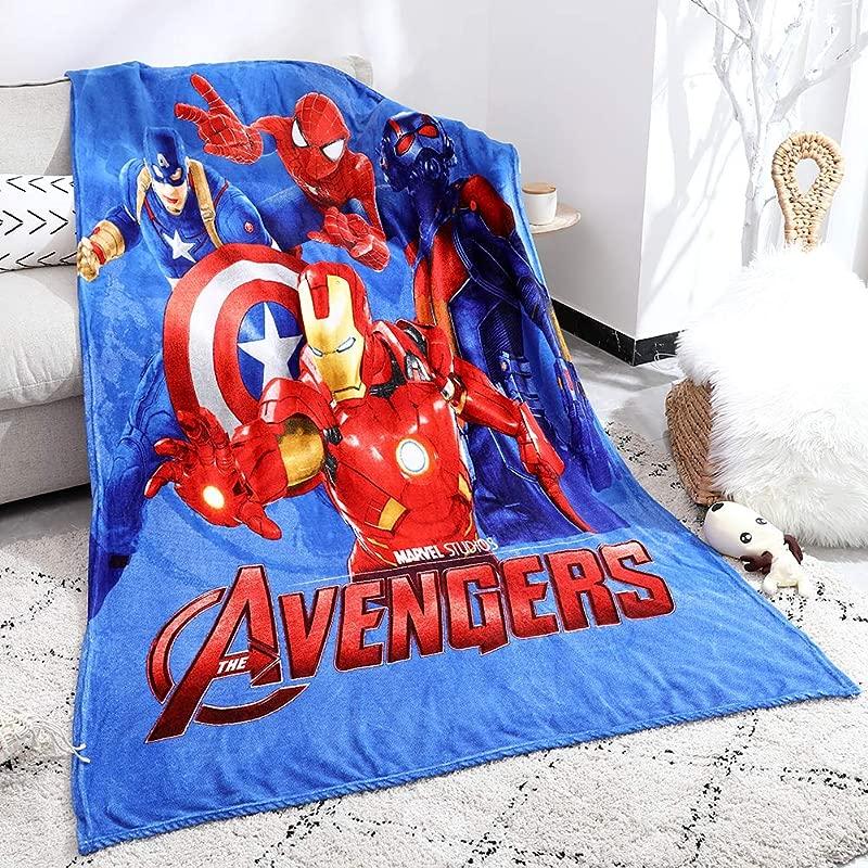 FairyShe Fleece Blanket Kids Plush Blanket Cartoon Fuzzy Blanket Soft Warm Throw Blanket 60 X 80 Coral Velvet Blanket For Bed Couch Chair Fall Winter Spring Living Room Avengers2